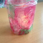 D.I.Y. Teelichtglas verschönert durch Serviettentechnik