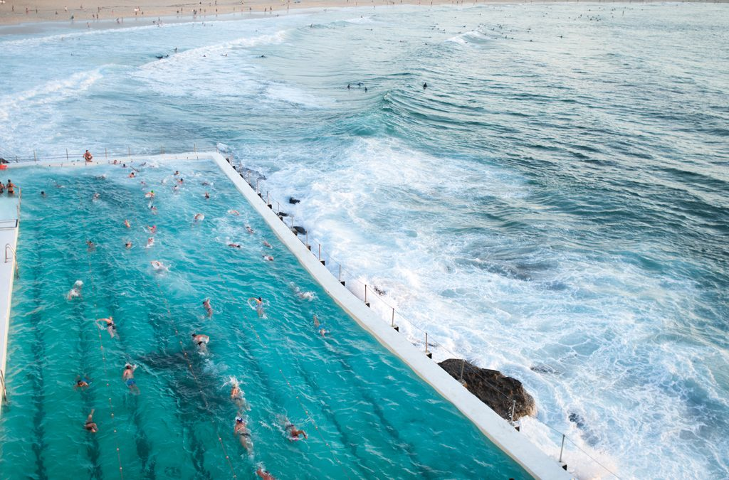 Sydney, Bondi Beach: Sunrise, Icebergs Club and Porch & Parlour
