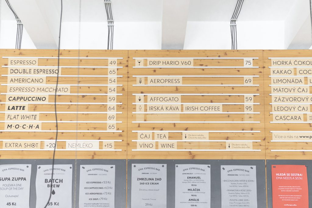 Ema Prague Specialty Coffee Menu