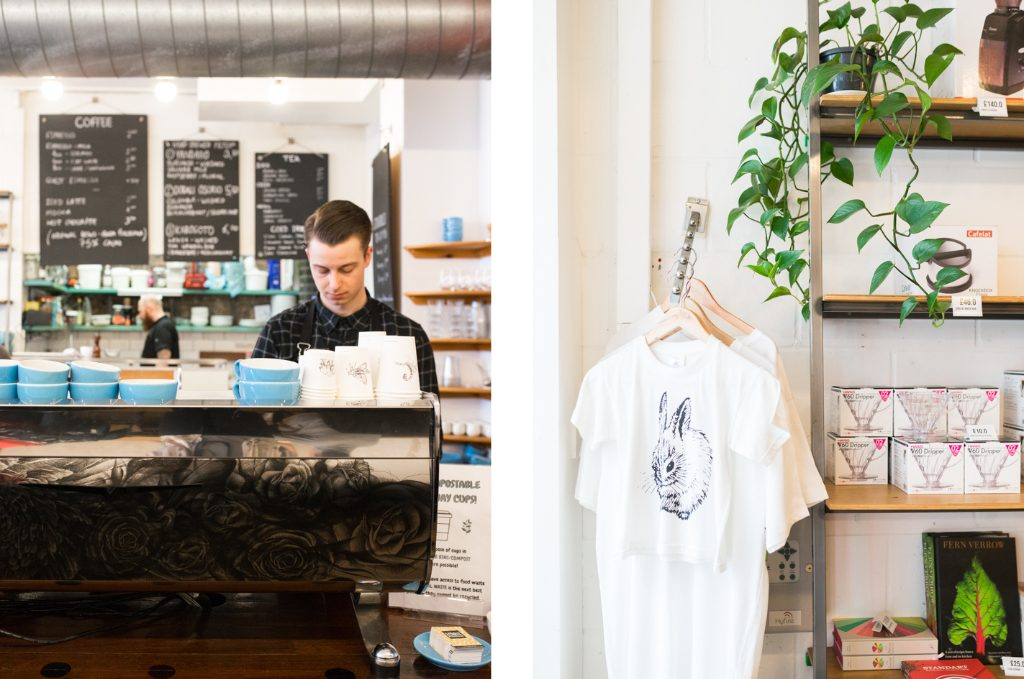 barista and bunny t-shirt prufrock london