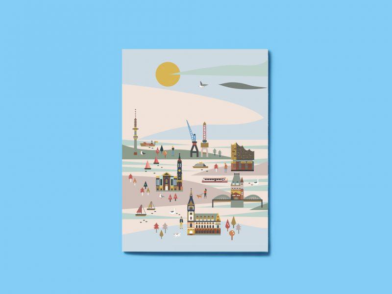 Hamburg-Postkarte-Saskia-Rasink-Ankerwechsel-Verlag-Vorderseite